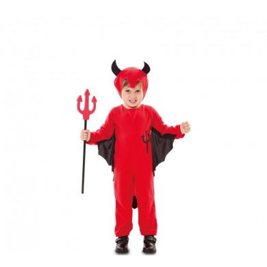 Demon costume with trident drawn for child and baby
