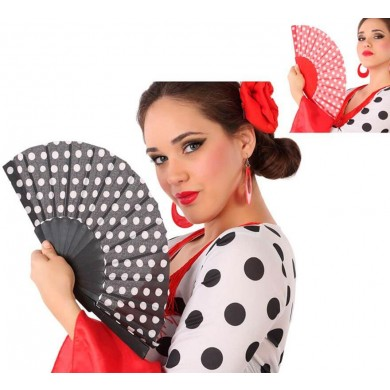 Fan with polka dots in various colors