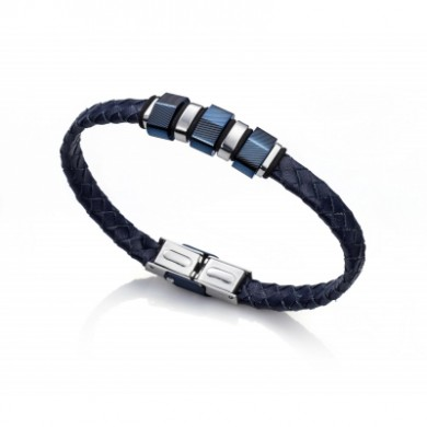 Viceroy Fashion Bracelet Male Leather and Steel Blue